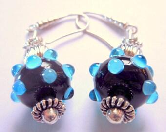 Blue on Black Polka-Dot Lampwork Earrings, Lampwork Jewelry, Lampwork, Lampwork Beads