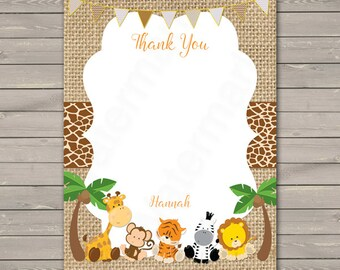 Safari Thank You Card, Jungle Thank you Card PDF, Printable Thank You Card, Thank You Note, Note Card, PDF Printable216