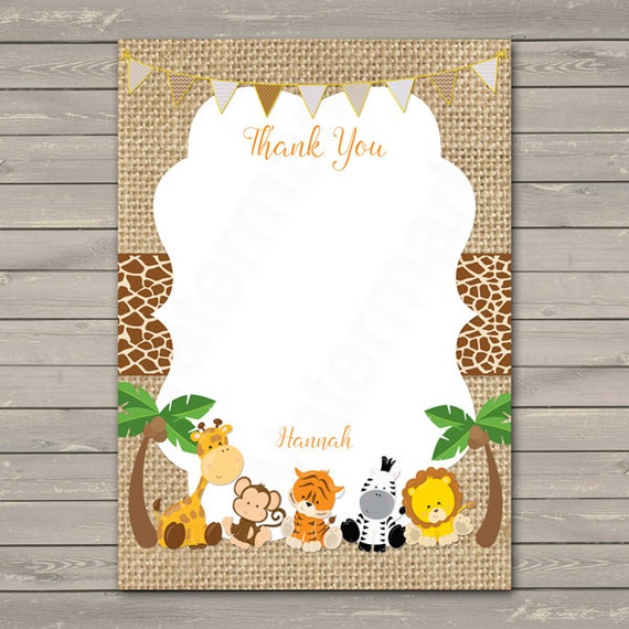 Excellent Safari Thank You Card, Jungle Thank you Card , Thank You Card  WW78