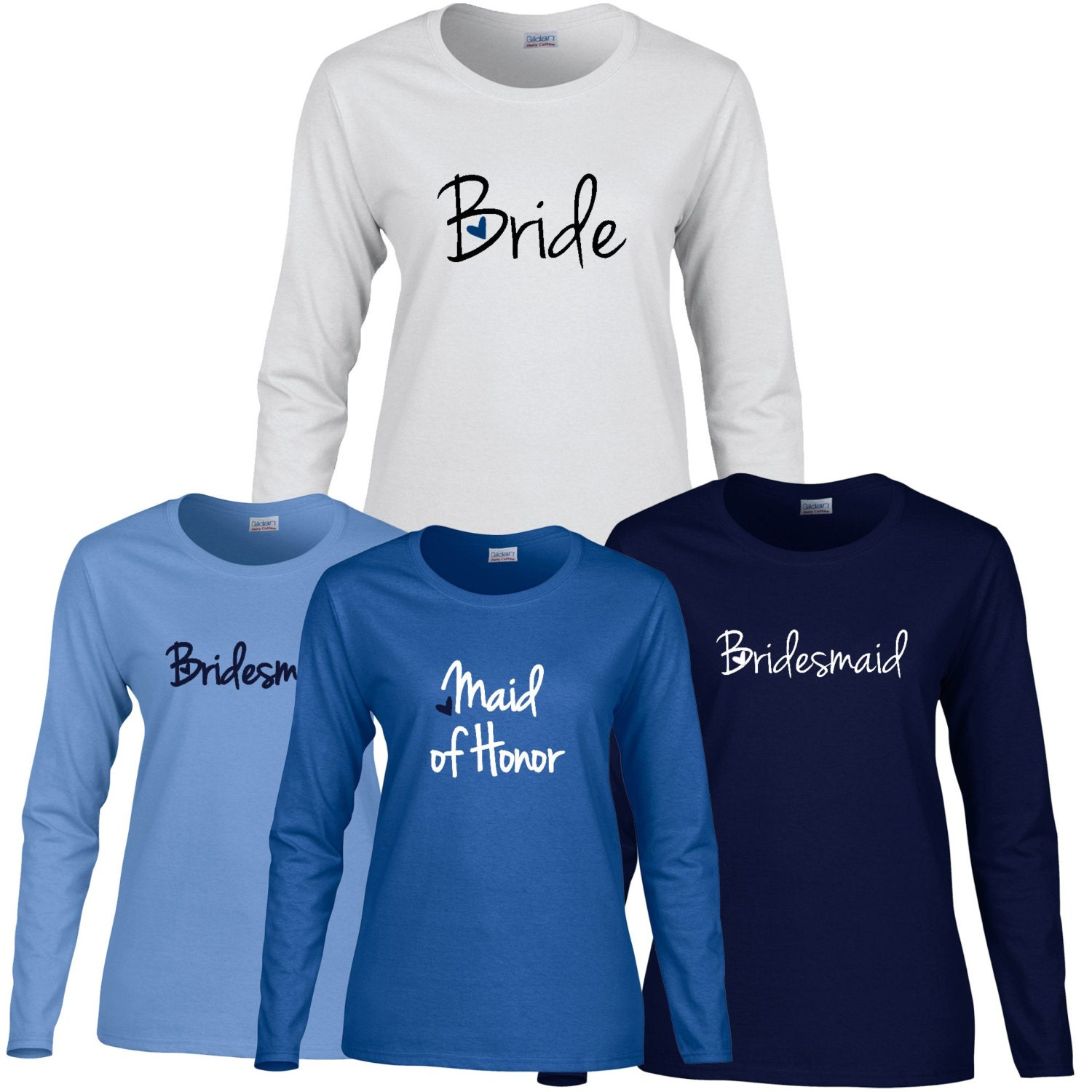 1 Bridal Party With Heart Long Sleeve T Shirt Women Long