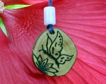 Handmade Butterfly Woodburned Pendant, Garden, Bloom, Flower, Spring Necklace