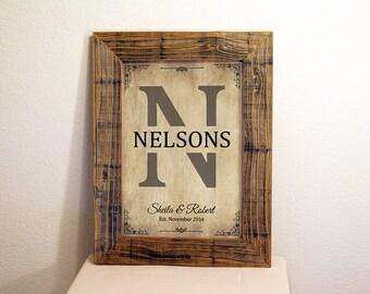 Custom Family Name Sign in Beige & Black. Custom Signs. Reclaimed Wood Frame. Established Family Sign. Rustic Decor. Wedding Gift. 12x16