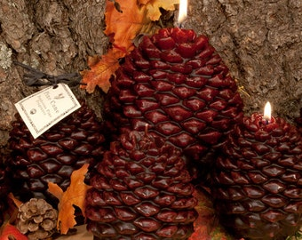Pine Cone Candles, hand dipped, pine fragrance