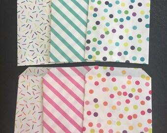 Favor Bag, Party Treat Bag, Candy Bag, Favor Bags, Pink OR Blue Color Combination – 6 Bags Total