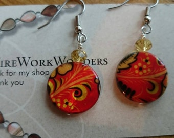 Multi colored glass beaded earrings