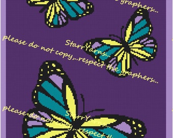 Butterfly Trio Crochet Graph Pattern