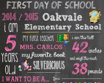 First Day of School Personalized Chalkboard Digital Image Custom Sign Design Poster First Day of School