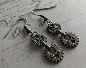 steampunk gears cogs earrings - small