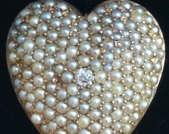 Antique Victorian 10k Yellow Gold Diamond Seed Pearl Heart Pin Brooch Pendant