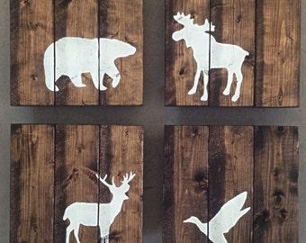 Rustic nursery animal signs moose, duck, bear, and deer set of 4
