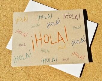 Hello Blank Card - Hola! Spanish Card - Hello Spanish Card - Hello Card - Just Because -