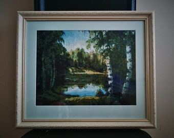 "Cross stitch framed picture ""Forest lake"""