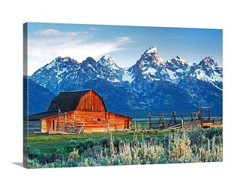 Grand Teton NP Moulton Barn at Sunrise Spring Mountains Country Scenic Homestead Mormon Row Meadow Canvas Print - Landscape Photography