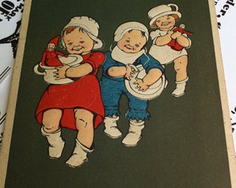 Antique German Embossed Postcard, Pots and Pans Parade