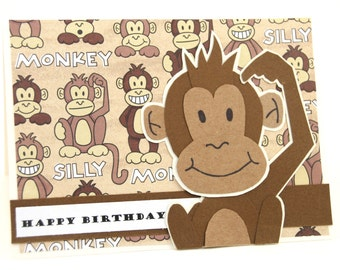 Silly Monkey Birthday Card - Kid's Birthday Card - Happy Birthday Card - Silly Monkey