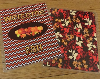 Front and Back Cover Set *WELCOME Fall Orange Brown Pumpkin Leaves* for use with Erin Condren or Happy Planner