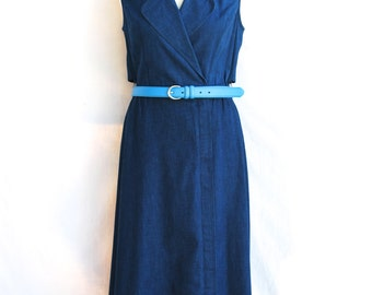 Denim Dress - Dark Blue - 1980s - Faux Wrap Dress - Lapels -  Four Seasons Dress