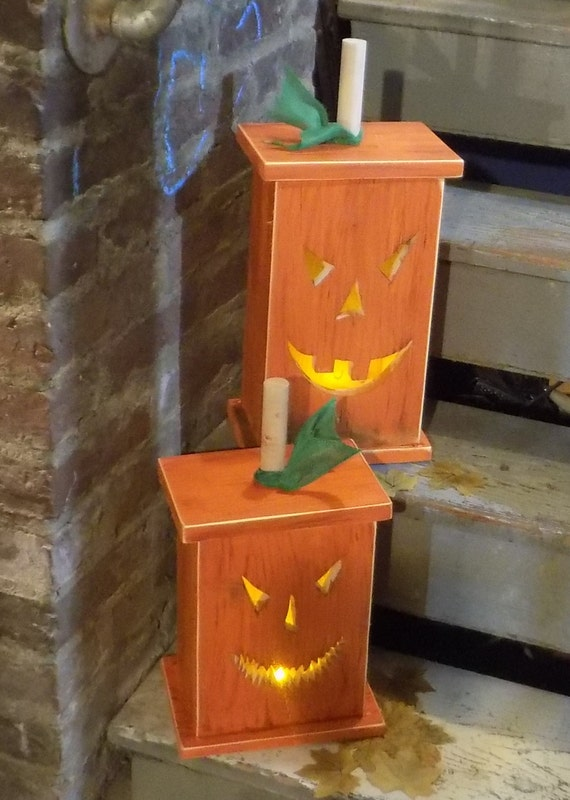 Lightbox Pumpkin Rustic Halloween Decor Reclaimed Wood