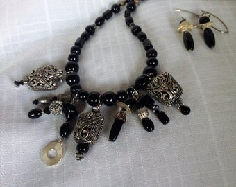 Onyx and Silver Necklace Set