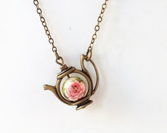 teapot necklace,teapot jewelry,tea time necklace,tea party gifts,tea lovers gift,Spring necklace,japanese kimono,Tea pot necklace,tea gifts