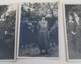 Three Small Vintage 1930s Black and White Photographs ~ Serious Sisters