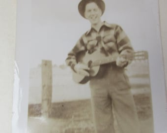 Small Vintage 1950s Black and White Photograph of Cowboy Teen with Guitar