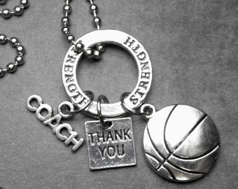 BASKETBALL Coach Thank You Charm Necklace or Key Chain Keychain, Coach Gift