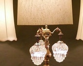 Crystal Glass Diamond Pattern Vintage Lamp with Hanging Globes and Matching Side Pair