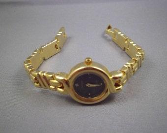 Goldtone Armitron Watch, Link Style, Round Black Dial