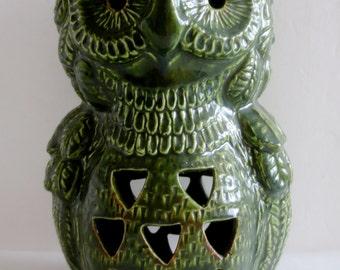 Vintage Glazed Ceramic Owl Lantern - Marked USA - Unusual Style