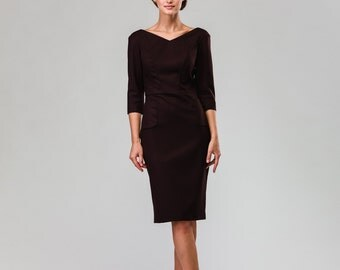 Chocolate Brown Wool Office Women Dress With Pockets and Red Rayon Lining