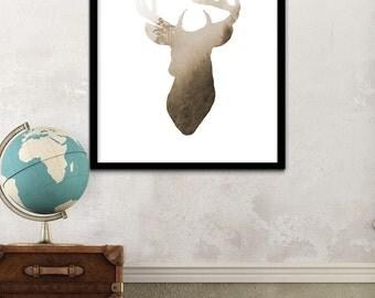 Modernist Deer Print, Printable Deer Art, Simple Decor Art, Deer Printable Wall Art, Forest Deer Prints, Mountains Deer Digital Download