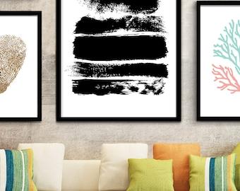 Black and White Wall Art, Modern Black White Prints, Digital Brush Stroke Black & White Print, Modern Black Wall Decor, Modern Office Art