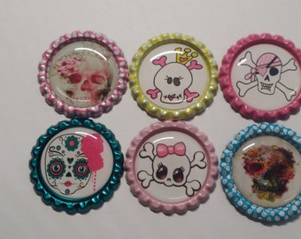 Set of 6 Cute Girly Skull Finished Bottle Caps