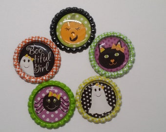 Set of 5 Cute Halloween Finished Bottle Caps Ghost Pumpkin