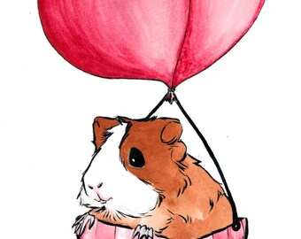 Cavy Cute Small Animals: Original Watercolor Painting Print - Brown & White Guinea Pig on Pink Balloon Ride No. 7