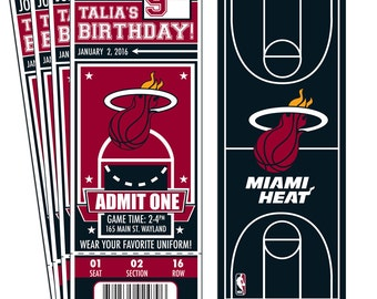 12 Miami Heat Custom Birthday Party Ticket Invitations - Officially Licensed by NBA