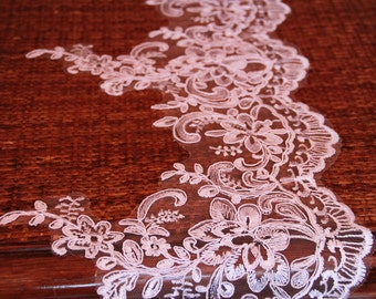 Lovely white/ivory Lace Trim,width 8.66'' Floral Lace trim,Wedding lace trim,trim lace for bridal veil(107-15)