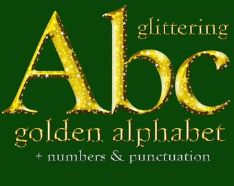 Gold glittering digital alphabet clipart, Christmas font with large and small letters, numbers and punctuation marks; for commercial use