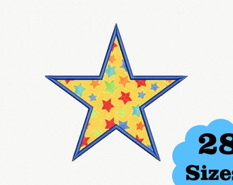 Star Applique Machine Embroidery Design - 28 Sizes