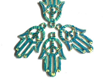 Blue Henna Hamsa Hand of Fatima Charms 4pcs