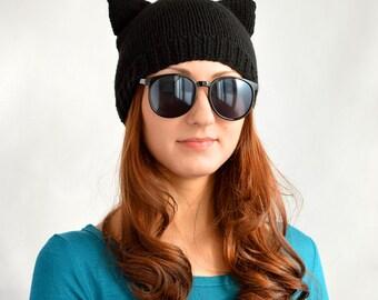 Black Cat Hat, Knit Cat Ear Hat or Cat Beanie, Womens Cat Hat or Mens Cat Hat