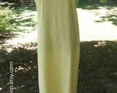 Sleeveless Maxi DRESS LINEN Blend, pastel YELLOW, simple long sheath, Vintage 1990s Boho chic sundress, Festival, Lagenlook, Plus size 14