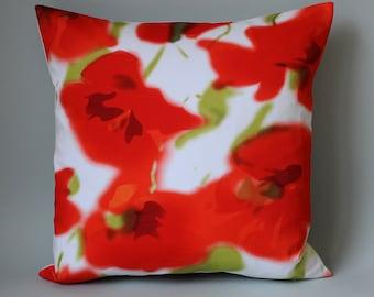 "Pillowcase pillow poppy red white cotton poppy flowers 40 x 40 cm 16 ""X 16"" cushion pillow cover pavot Gard"
