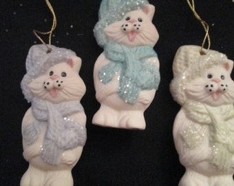 Porcelain Ornament  ** Cat Hanging Ornament  ** - - in hat and scarf