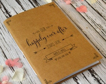 Personalised Bridal Notebook / Wedding Planner / Mini Journal - Our Happily Ever After Starts Here - Cute Wedding or Engagement Gift