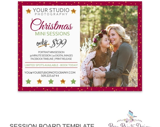 Christmas Session Marketing Board - Template for Photographers - Digital Photoshop Template - 5x7 Photography Design - HMB02