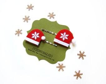 Santa Cap Hair Pins, Seasonal Matching Bobby Pins Set, Hair Gift Set, Christmas Themed Hair Pins, Little Girl Hair Pins, Winter Hair Pins