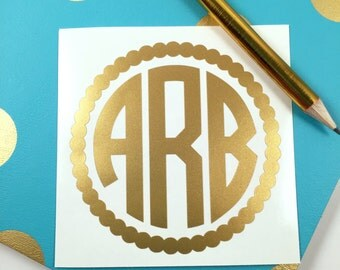 Monogram Decal - Monogram Sticker - Monogram Car Decal - Car Decal - Yeti Decal - Monogram - Vinyl Decal - Laptop Decal - Tumbler Decal