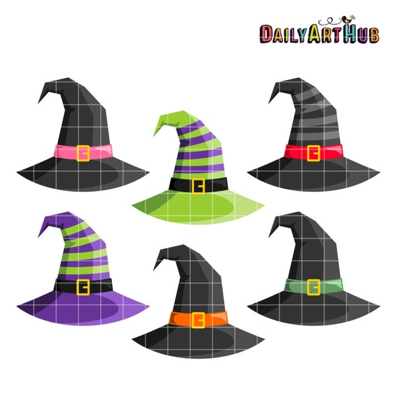 Witch Hats Clip Art, Halloween Clipart, Scary Printable, Magic Clip ...